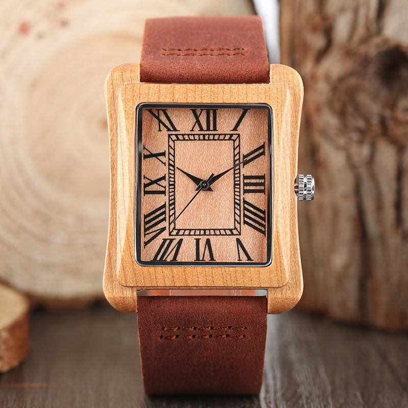 Mens Watches 2017 New arrival Rectangle Dial Wooden Quartz Watch Nature Bamboo Wood Wrist Watch Genuine Leather Reloj de madera simple brown bamboo full wooden adjustable band strap analog wrist watch bangle minimalist new arrival hot women men nature wood