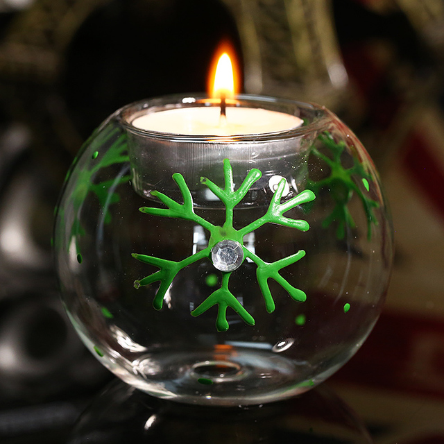 8cm Transparent Globe Round Glass Tealight Candle Holder Green Snowflake Christmas Tree Decoration Supplier Xmas Light Home