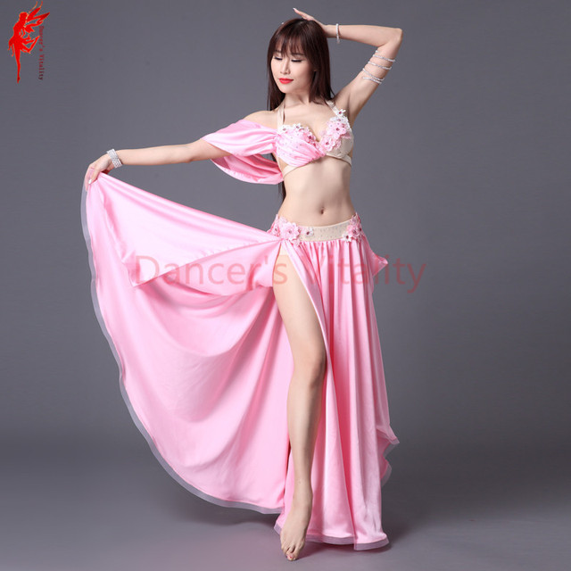 Girls belly dance clothes Women bra top+skirt 2pcs women performance suit  B C cup Lady Swarovski crystal belly dance clothing d422cac1967b