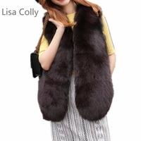Lisa Colly New Arrive Women Long Fur Vest Winter Women Luxury Faux Fox Fur Vest Furry Slim Women's Fake Fur Vest