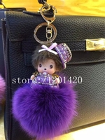 MONCHHICHI Hat Keychain Fox Fur Best Gift For Lady Handbag Charm Cute Gifts Sparkly Crystal Pompoms