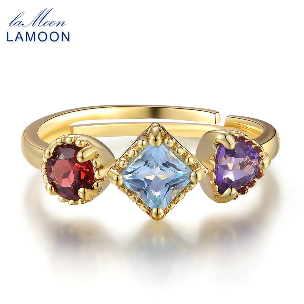 LAMOON- Piramida 3 copë 4 mm 1-purpurtë Ametist i kuq Garnet i Kuqe - Bizhuteri të bukura - Foto 1