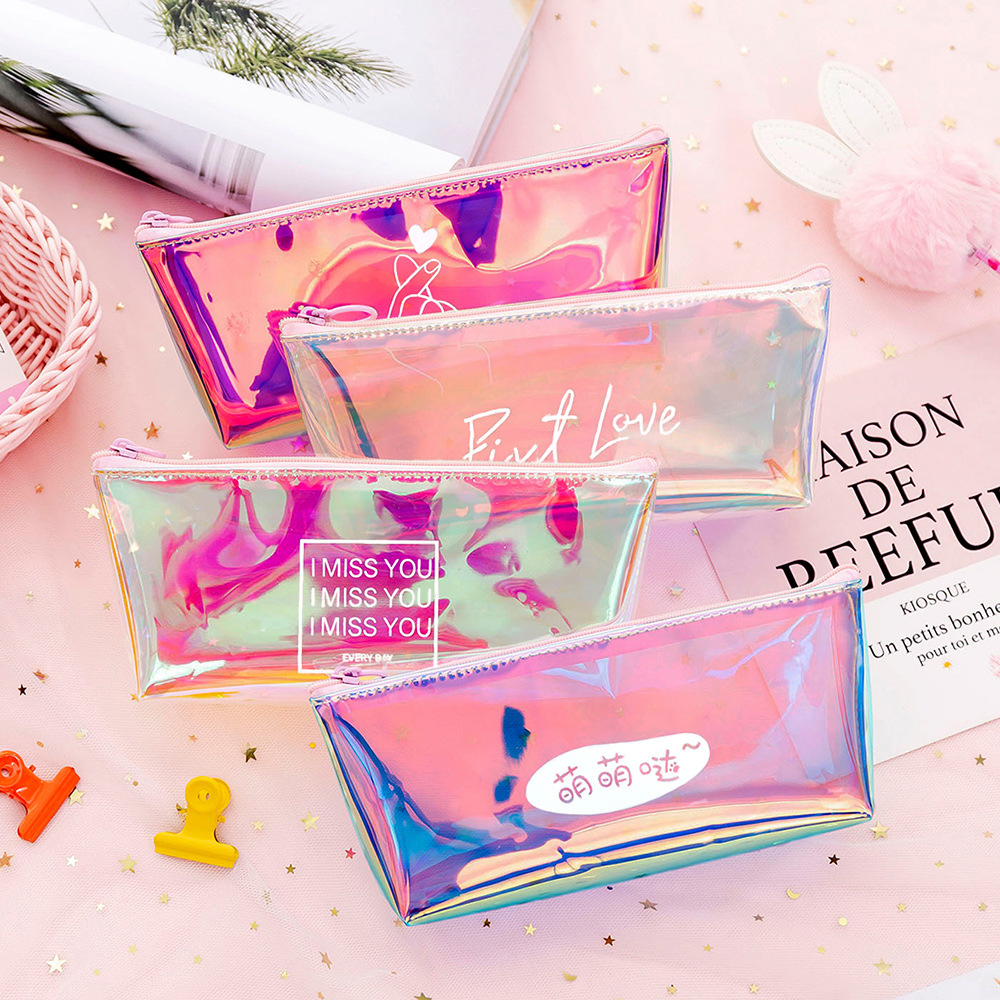 New Cute Laser Colorful Pencil Case Transparent Jelly Pencil Bag Fashion Pencil Box Pencilcase School Student Supply Pencil Case