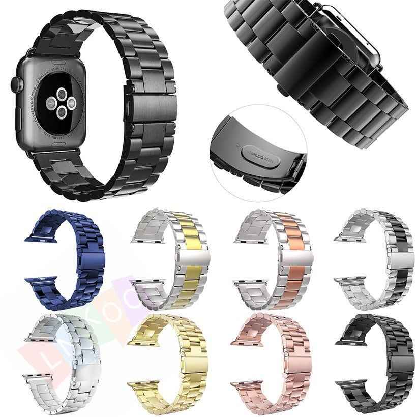 Correa de acero inoxidable para Apple Watch Band 40/44/38/42mm pulsera serie 4 3 2 1 correa de Metal accesorios de repuesto pulsera