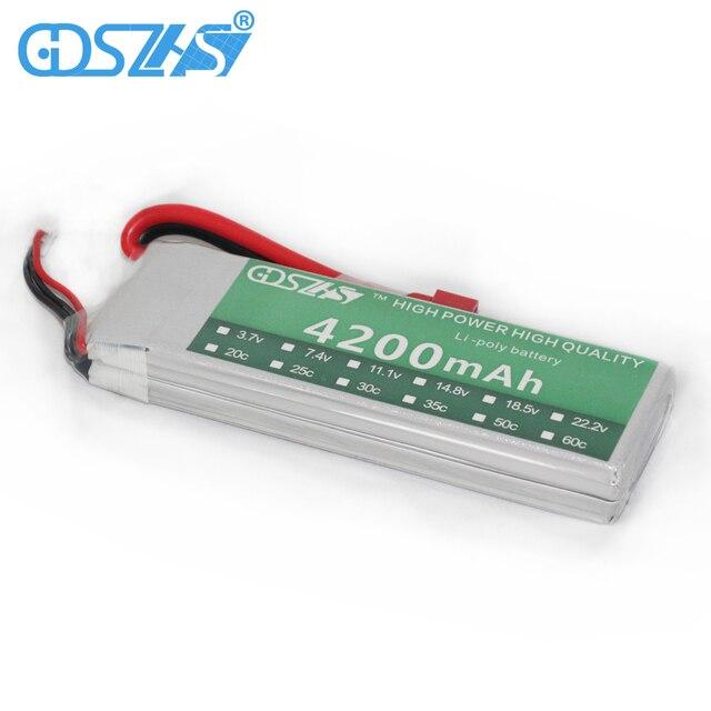 GDSZHS Power 7.4V 4200mAh Lipo Battery 30C 2S Battery 2S LiPo 7.4 V 4200mAh 30C 2S 1P Lithium-Polymer Batterie For RC Car