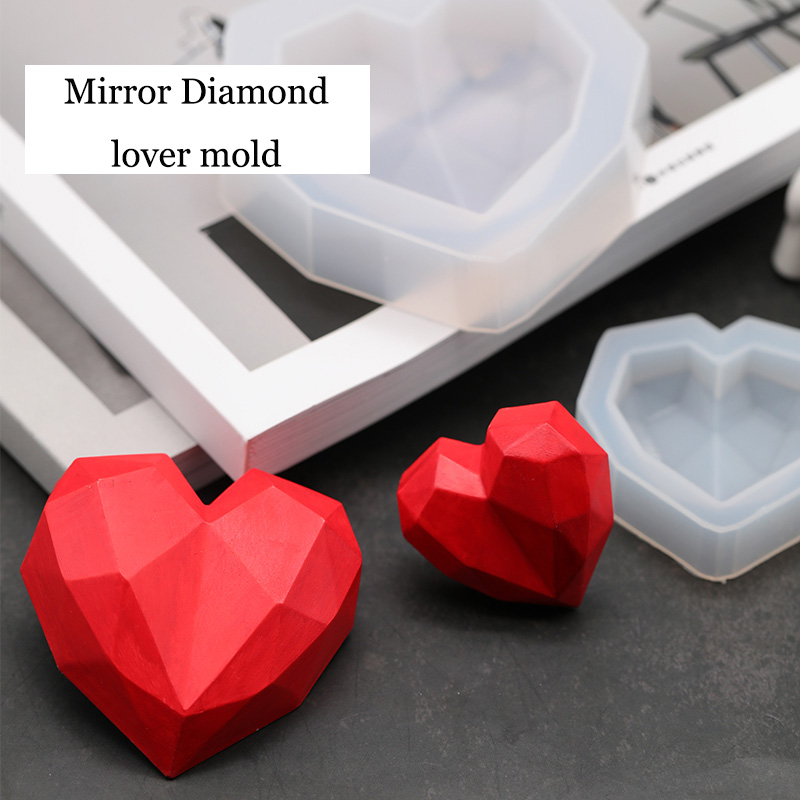 3D Diamond Love Heart design Silicone Mold DIY car Pendant gypsum plaster heart mold diamond soap mold