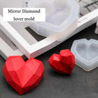 3D Diamond Love Heart design Silicone Mold DIY car Pendant gypsum plaster heart mold diamond soap mold