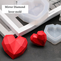 Moule en Silicone bricolage, design coeur d'amour en diamant 3D, moule en Silicone, pendentif de voiture, plâtre, moule à savon en diamant