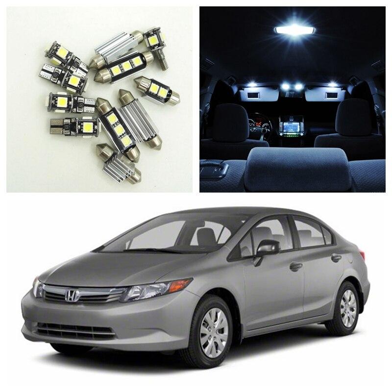 8pcs White Car Led Light Bulbs Interior Package Kit For 2006 2012 Honda Civic Map Dome Trunk