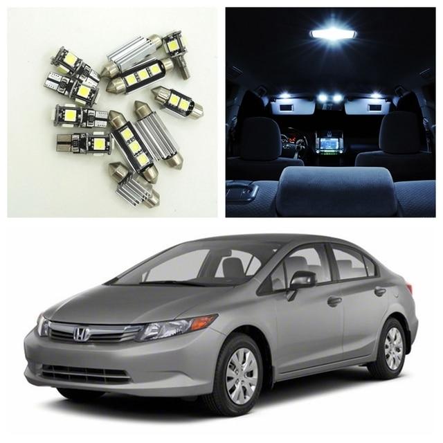 8pcs White Car LED Light Bulbs Interior Package Kit For 2006 2012 Honda  Civic Map