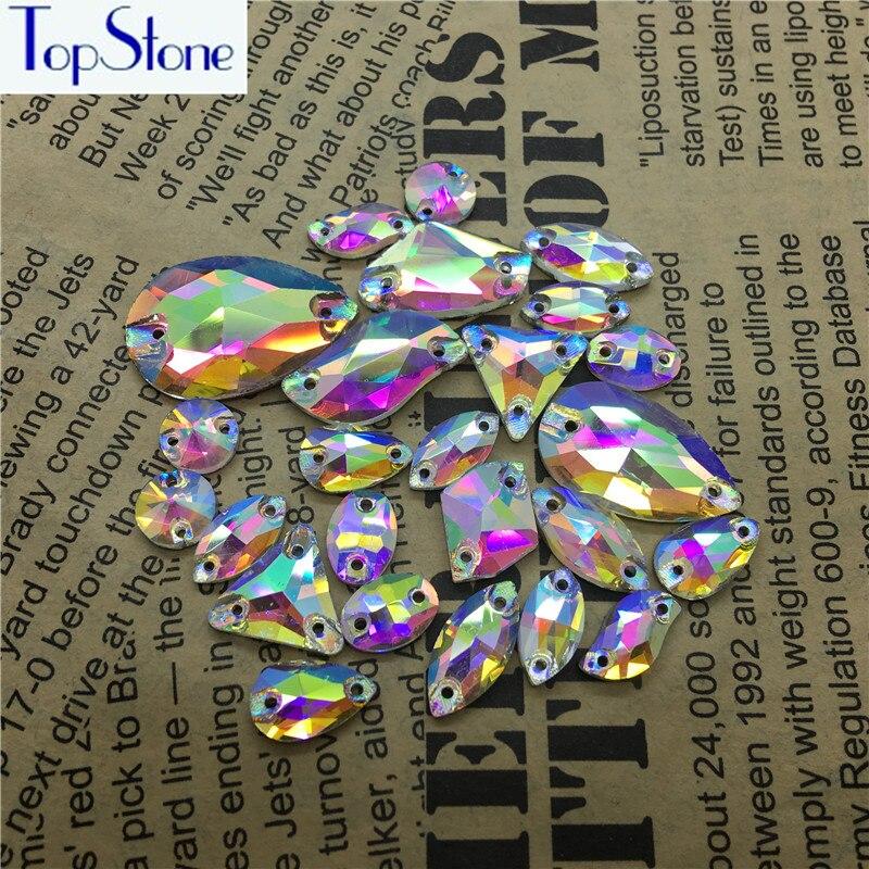 Crystal AB Color Glass Crystal Sew On Rhinestones Flatback Drop,Oval,Rivoli More Shapes Sew-on Stone Diy Dress Clothing Making