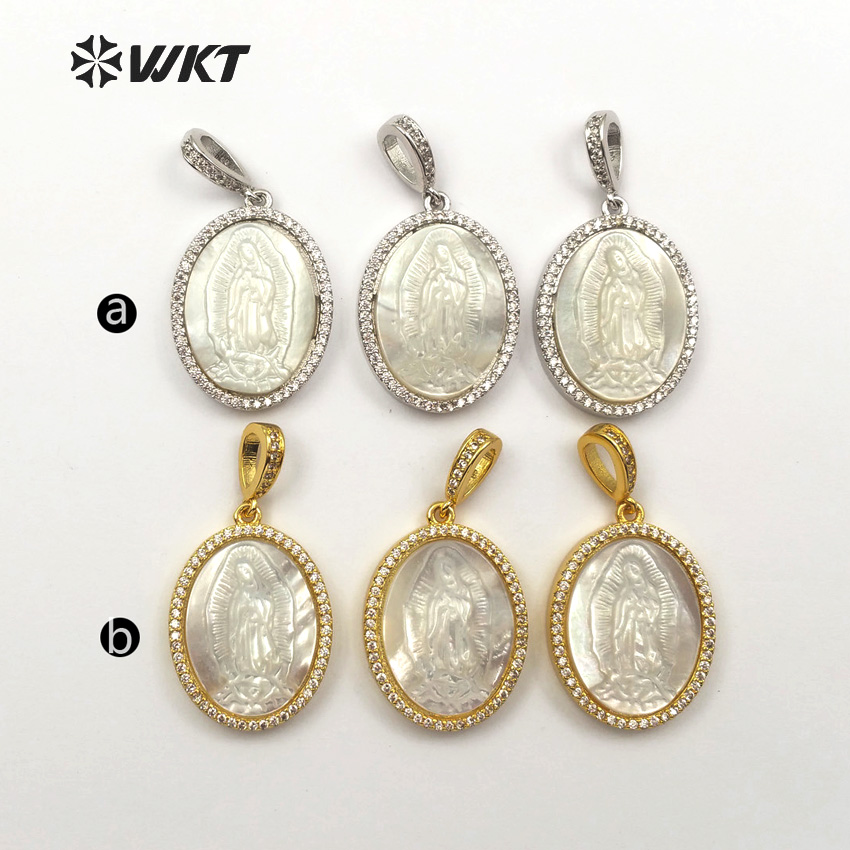 Image 3 - WT MP107 Virgin Mary Medallion Shell Pendent Life Of Tree Pendant  Charm Dainty Micropave Religious Jewelry Gift For WomenPendants   -