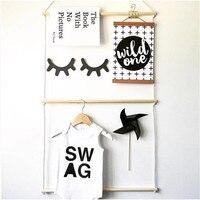 Ins Modern Wooden Coat Rack Wall Decorative Natural Baby Room Cloth Hanger Shelf Storage Organization Hangers