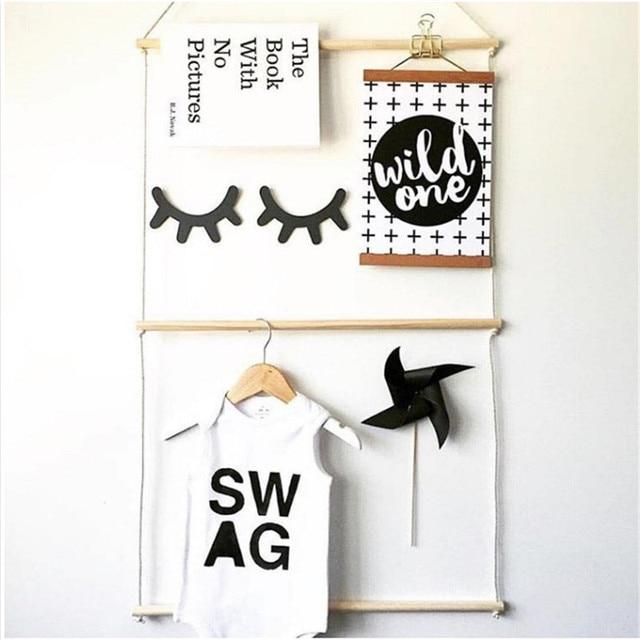 Ins Modern Wooden Coat Rack Wall Decorative Natural Baby Room Cloth Hanger  Shelf Storage Organization Hangers Christmas Gifts