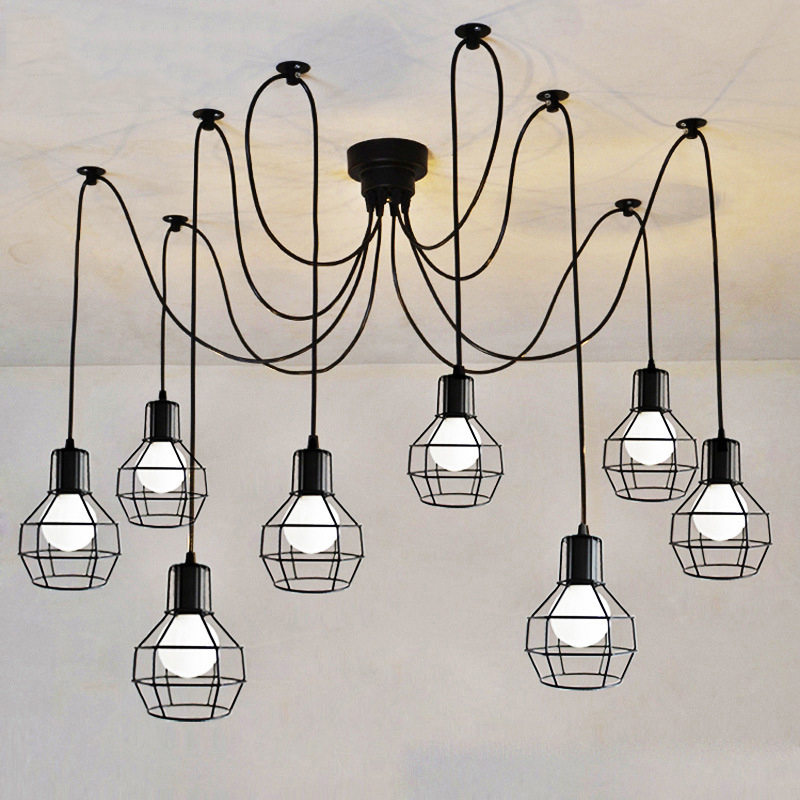 6 arms Vintage industrial Nordic Chandelier Edison Bulb Loft Retro Ceiling pendant lamp Spider indoor Art Lights dining lamps6 arms Vintage industrial Nordic Chandelier Edison Bulb Loft Retro Ceiling pendant lamp Spider indoor Art Lights dining lamps