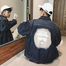 2017 autumn style new men's head print jeans jacket trendy fashion big size men's coat black/blue clothes outwear male cowboy