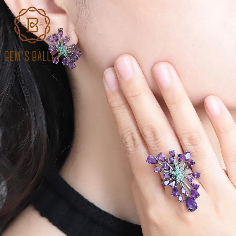GEM S BALLET Hot Sale Natural Amethyst Vintage Gothic Jewelry Sets For Women 925 Sterling Silver