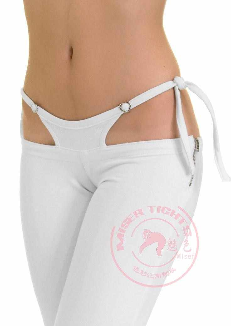 NEW Sexy Low Waist G-string Fake Two-piece Capris Pants  Women Long Flare Pants Slimming Solid Black White Pantalones Trousers