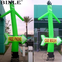 Attractive funny green car wash inflatable sky dancer air dancer dancing tube man with arrow for promotion