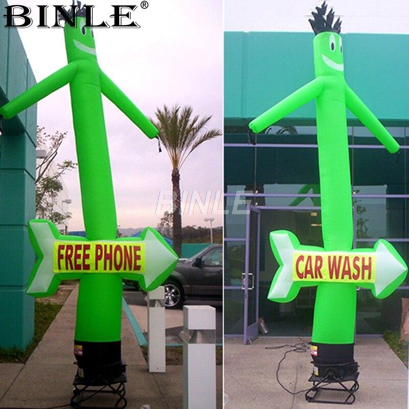 Attrayant drôle vert de lavage de voiture gonflable ciel danseur danseur d'air danse tube homme avec flèche pour promotion