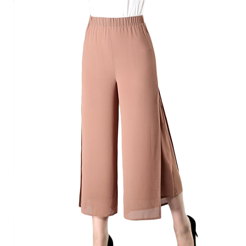Plus size   Pants   Summer   Wide     leg     Pants   loose High waist Middle-aged women's Trousers Thin square dance Chiffon   Pants   4XL F309
