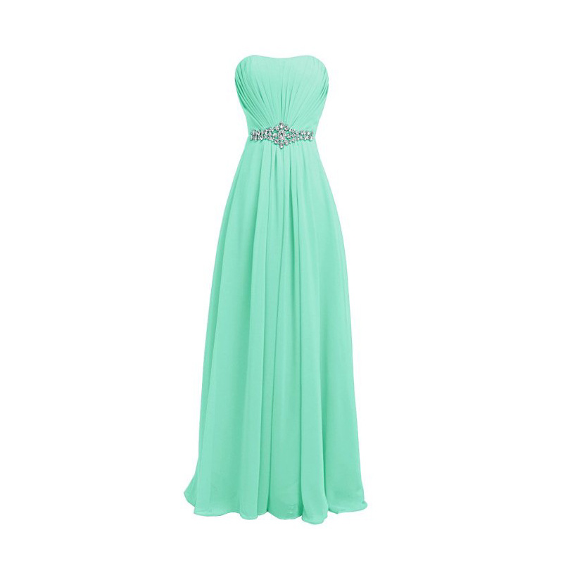 Simple Aline Prom Dress 2019 Women Long Mint Bridesmaid Dresses Chiffon Evening Prom Party Dresses Evening Gowns Zipper  G044