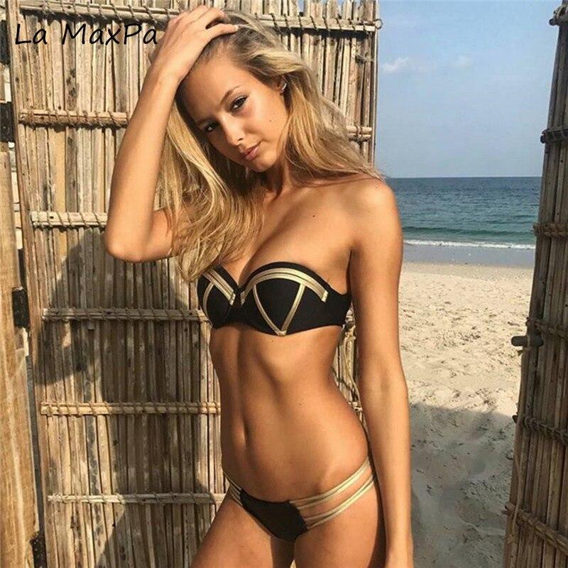 La MaxPa 2018 Gold Stamping Bikini Set Sexy Padded Women Swimsuit Push Up Bandeau Swimwear Summer Beachwear Brazil Bathing Suit