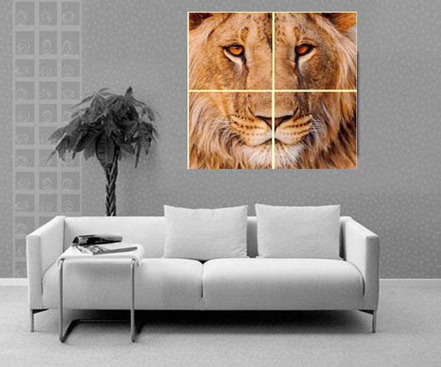 4 pcs Animal Lions Head wall Pictures Impresos en lienzo Cuadros - Decoración del hogar - foto 4