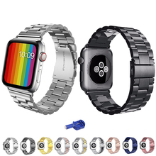 Stainless steel strap for apple watch bands correa aplle watch 42mm 38mm 44mm 40mm iwatch series 4 3 2 1 Link bracelet Watchband newest black silver stainless steel link bracelet bands for apple watch 2 42mm 38mm with 1 1 original butterfly closure
