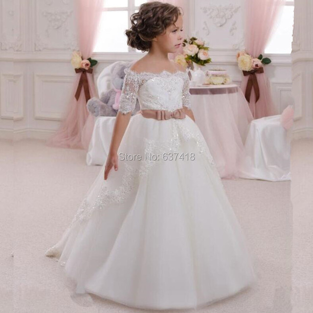 091623c21c US $105.0 |First Communion Dresses for Girls Flower Girl Dress with Lace  Appliques and Sequins Vestido de Daminha-in Flower Girl Dresses from  Weddings ...
