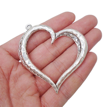 3 x Tibetan Antique Silver Tone Hollow Open Large Heart Charms Pendants for Necklaces Jewelry Making Findings 57x53mm