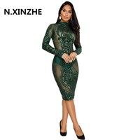 Night Club Dresses 2018 New Year Sexy Sequin Dress Bodycon New Fashion Long Sleeve Bandage Dress
