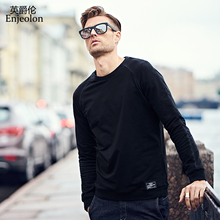 Enjeolon brand Long Sleeve o neck Sweatshirt Men cotton clothes Black casual Sweatshirt Men Solid Pullover Clothing WY111(China)