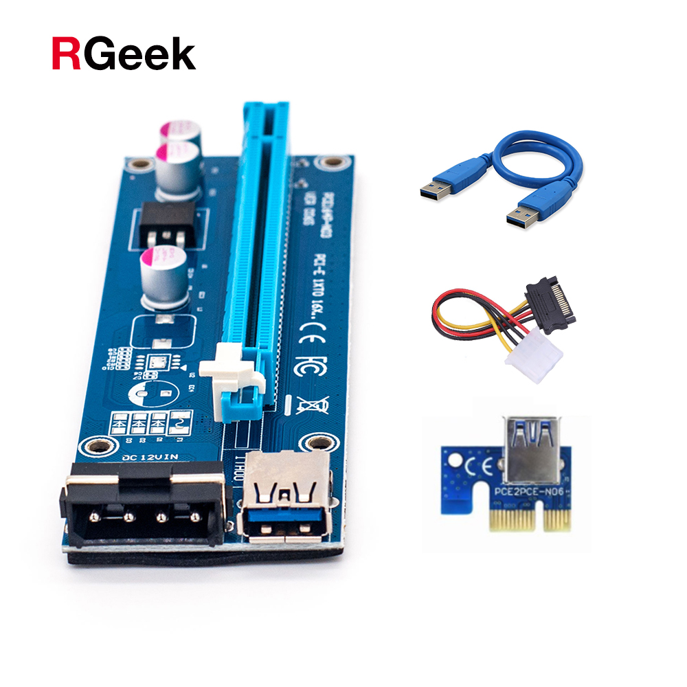все цены на Wholesale USB 3.0 PCI-E Riser Express 1X 4x 8x 16x Extender Riser Adapter Card SATA 15pin Male to 6pin Power Cable онлайн
