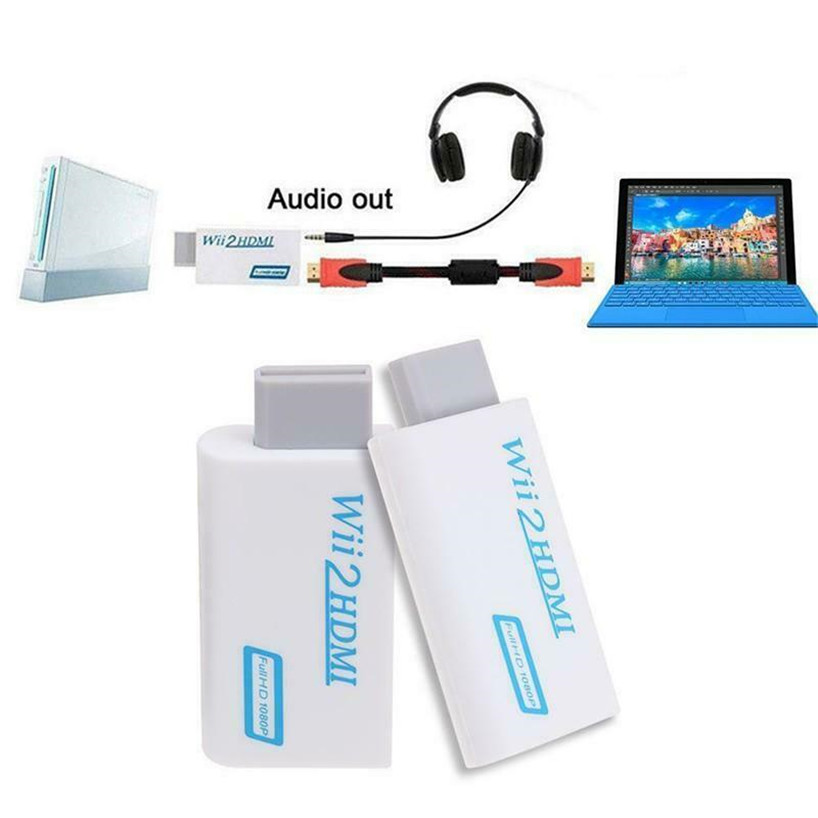 200PCS For Wii to HDMI 1080P Converter Wii2HDMI Adapter 3 5mm Audio Video Output Full HD