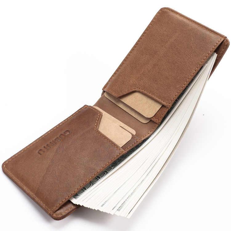 Тонкий кожаный ID/держатель для кредитных карт Двойные передние карманы кошелек с RFID Блокировка визитница 100% натуральная кожа