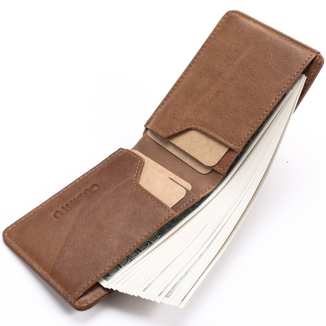 Slim Leather ID/Credit Card Holder Bifold Front Pocket Wallet with RFID Blocking Business card holder 100% genuine leather