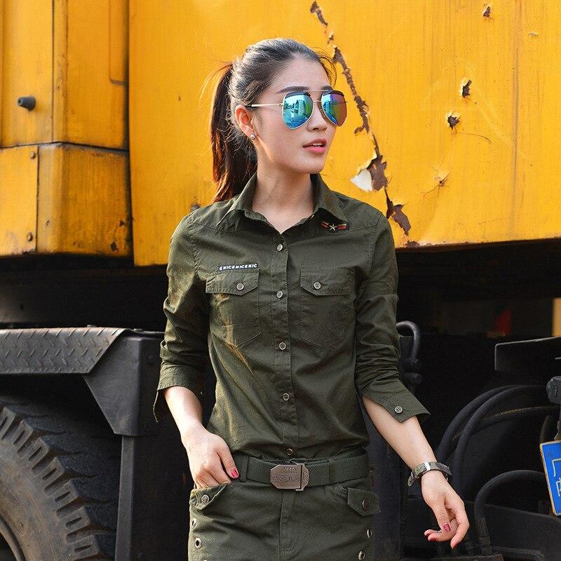 2017 spring summer women fashion Camouflage slim lapel long sleeve military shirt