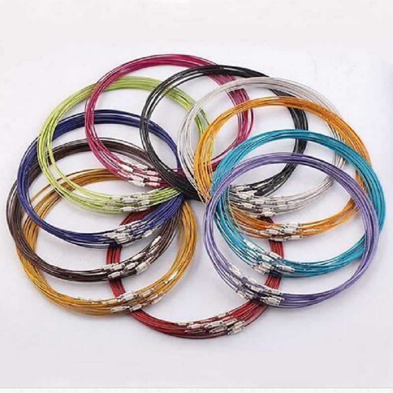 "10pcs/lot 46cm multicolor mixed silver Stainless Steel 18"" screw choker Necklace Jewelry Wire Cord For DIY necklaces accessaries"