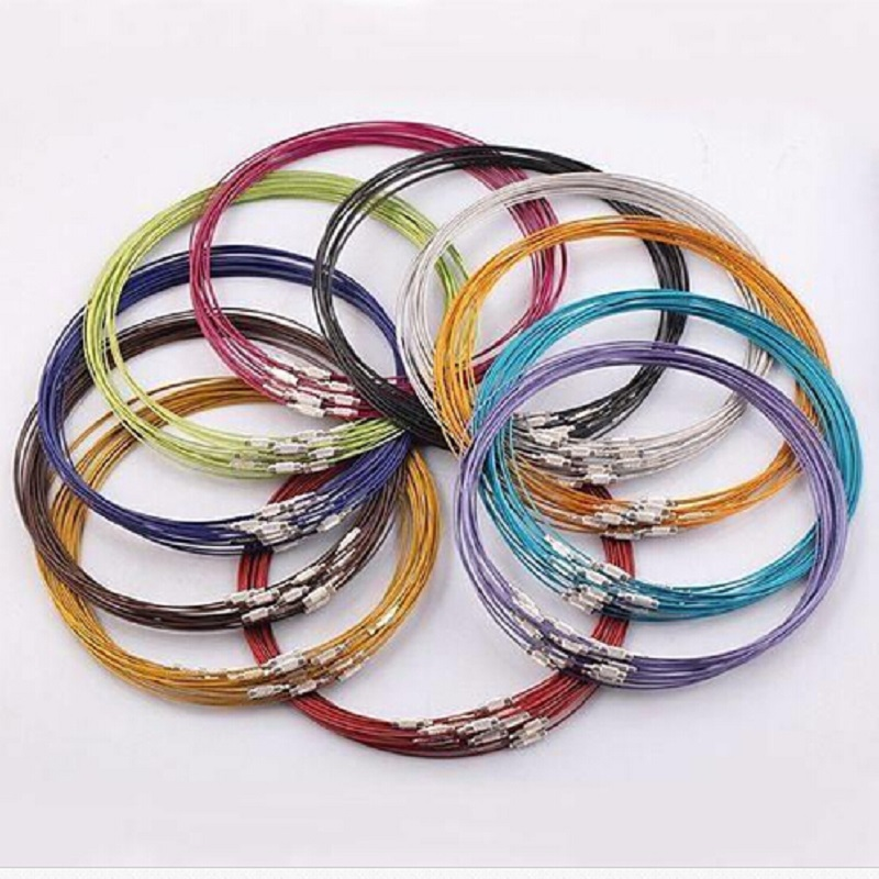 10pcs/lot 46cm multicolor mixed silver Stainless Steel 18 screw choker Necklace Jewelry Wire Cord For DIY necklaces accessaries