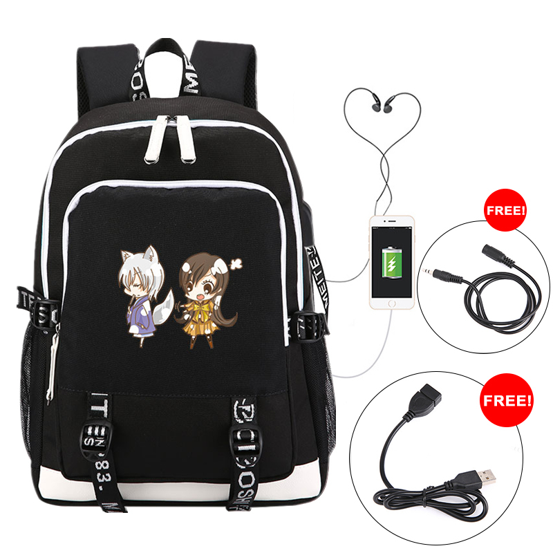 Kamisama Love Anime Women Printing Backpack Kamisama Kiss Cosplay School Bags For Teenage Girls Usb Charging Laptop Backpack