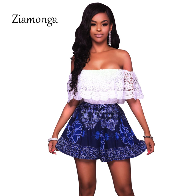 Ziamonga Fashion Strapless Lace Playsuits Short Sleeve Floral Printed Blue White Jumpsuits Shorts Women Sexy Overalls Ruffles