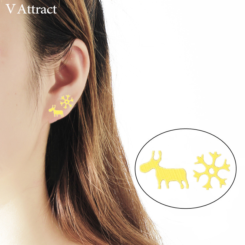 V Attract 10pair Stainless Steel Deer Snowflake Earrings 2018 Vintage Small Animal Brincos Studs Gold Flower Boucle D'oreille image