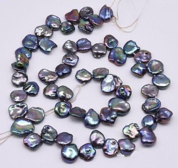 Nouveau Arriver Paon Keshi Pétale Perle Bijoux, 10mm Flocons de maïs Keshi Top forés Perle D'eau Douce Chaîne, lustre élevé Vraie Perle
