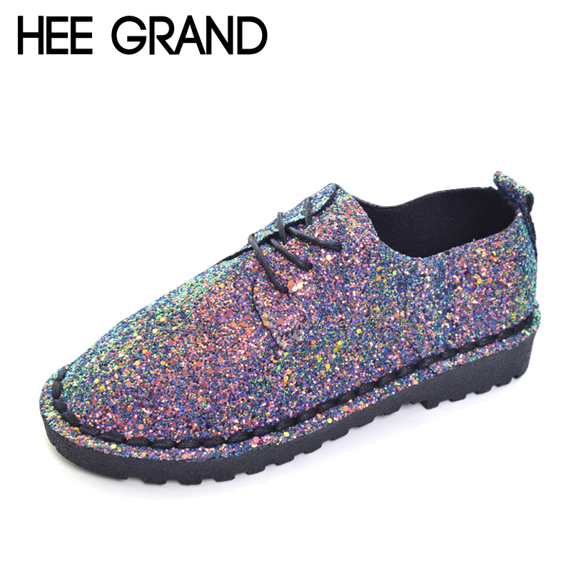 HEE GRAND Bling Gitter Creepers Platform Oxfords Shoes Woman 2017 Lace Up Flats Fashion Casual Women