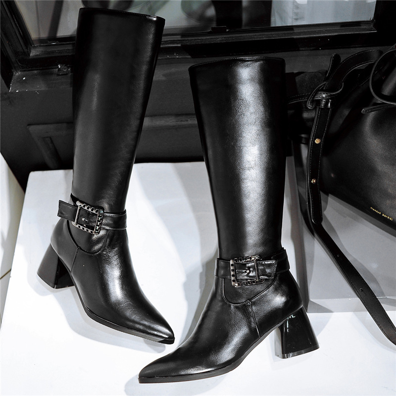 New Fashion Motorcycle Spring Womens Over the Knee Boots Autumn Sexy Ladies Thigh High Boots Pointed Toe Buckle High Heels Shoes new 2017 spring summer women shoes pointed toe high quality brand fashion womens flats ladies plus size 41 sweet flock t179