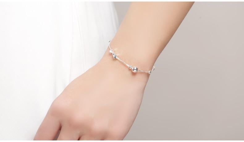 HTB1cJNKhtcnBKNjSZR0q6AFqFXal SA SILVERAGE 925 Sterling Silver Charms Bracelets Bangles for Women 925 Silver Star Ball Chain Link Bracelets Pulseira Feminina