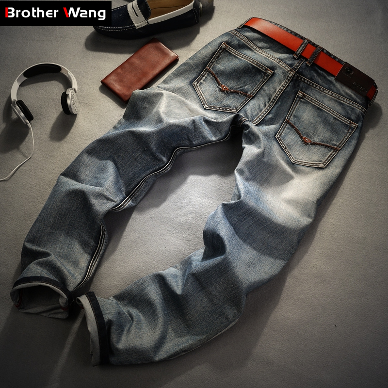 Image 3 - Brother Wang Brand men's clothing 2019 New Men 's Jeans fashion Retro Slim small straight jeans for men casual men trousers-in Jeans from Men's Clothing