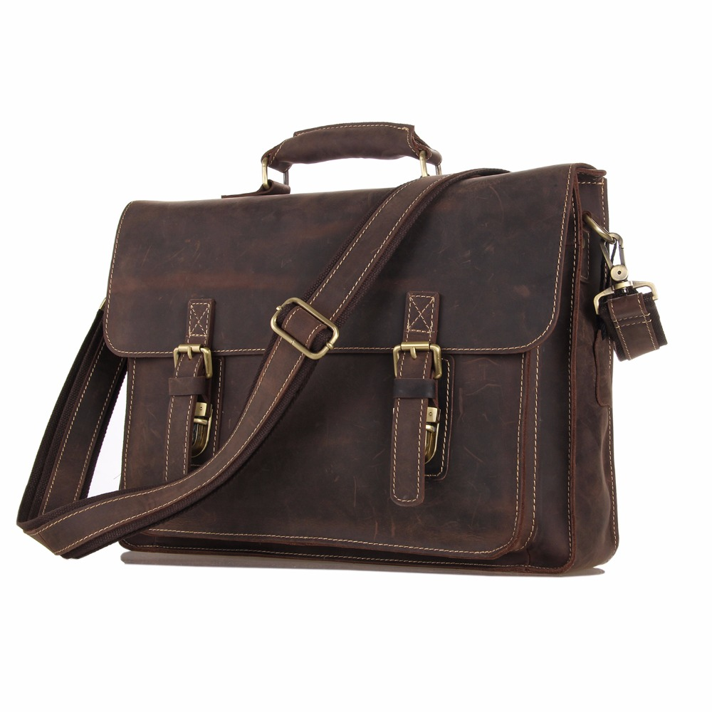 Augus Imported Top Layer Leather Messenger Bag High Quality Crazy Horse Leather Handbag Brand New Shoulder Bag For Men 7205R famous brand top leather handbag bag 2018 new big bag shoulder messenger bag the first layer of leather hand bag