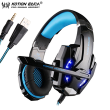 цена на KOTION EACH G9000 Gaming Headphones casque 3.5mm PC Stereo Headset with MicrophoneLED Light for Laptop PS4 Gamepad Phone
